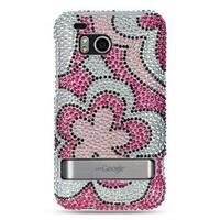 Insten Hot Pink/ White Hard Snap-on Rhinestone Bling Case Cover For HTC ThunderBolt 4G