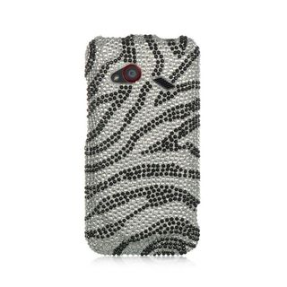 Insten Silver/ Black Hard Snap-on Diamond Bling Case Cover For HTC Droid Incredible (LTE version)