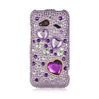 Insten Purple/ Pink 3D Hard Snap-on Diamond Bling Case Cover For HTC Droid Incredible (LTE version)