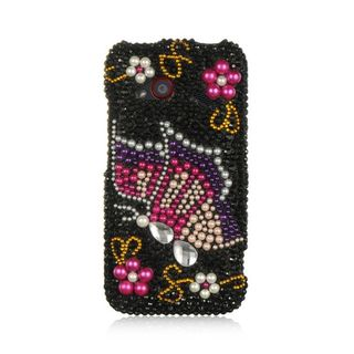 Insten Black/ Pink Hard Snap-on Rhinestone Bling Case Cover For HTC Droid Incredible (LTE version)