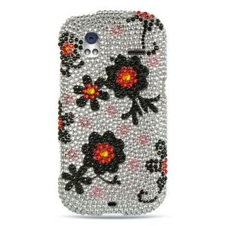 Insten Silver/ Black Hard Snap-on Rhinestone Bling Case Cover For HTC Amaze 4G