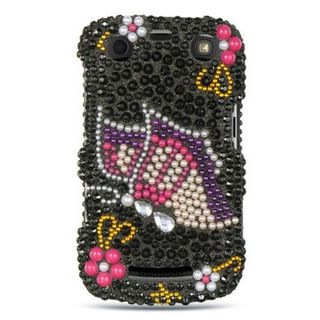 Insten Black/ Hot Pink 3D Hard Snap-on Rhinestone Bling Case Cover For BlackBerry Curve 9360