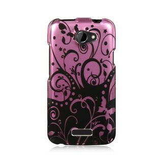Insten Purple/ Black Hard Snap-on Rubberized Matte Case Cover For HTC One X