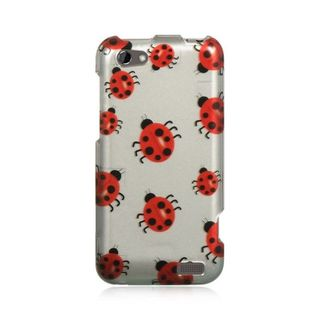 Insten Silver/ Red Hard Snap-on Rubberized Matte Case Cover For HTC One V