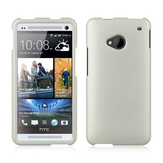Insten White Hard Snap-on Rubberized Matte Case Cover For HTC One M7