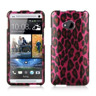 Insten Hot Pink/ Black Hard Snap-on Rubberized Matte Case Cover For HTC One M7