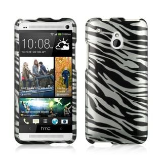 Insten Silver/ Black Hard Snap-on Rubberized Matte Case Cover For HTC One Mini