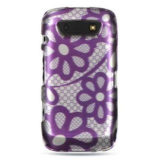 Insten Purple/ White Hard Snap-on Rubberized Matte Case Cover For BlackBerry Torch 9850/ 9860