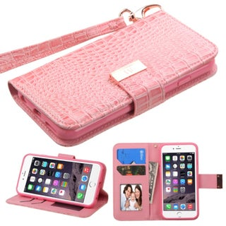 Insten Pink Leather Crocodile Case Cover Lanyard with Stand/ Wallet Flap Pouch/ Photo Display For Apple iPhone 6 Plus/ 6s Plus