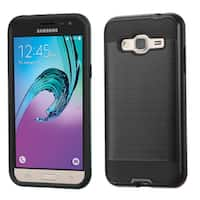 Insten Black Hard PC/ Silicone Dual Layer Hybrid Rubberized Matte Case Cover For Samsung Galaxy Amp Prime/ J3(2016)