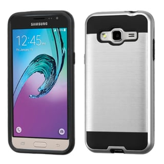 Insten Silver/ Black Hard PC/ Silicone Dual Layer Hybrid Rubberized Matte Case Cover For Samsung Galaxy Amp Prime/ J3(2016)