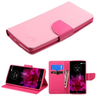 Insten Pink Leather Case Cover with Stand/ Wallet Flap Pouch/ Photo Display For LG G Flex 2