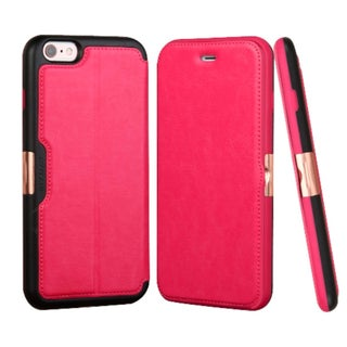 Insten Hot Pink/ Black Leather Case Cover with Stand/ Wallet Flap Pouch For Apple iPhone 6 Plus/ 6s Plus