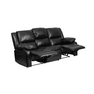 Offex Contemporary Harmony Series Black Leather Sofa With Two Built In  Recliners