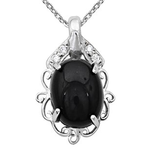 Orchid Jewelry 925 Sterling Silver 12 1/5 Carat Black Onyx and Cubic Zirconia Necklace