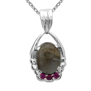 Orchid Jewelry 925 Sterling Silver 5 4/9 Carat Labradorite and Ruby Necklace