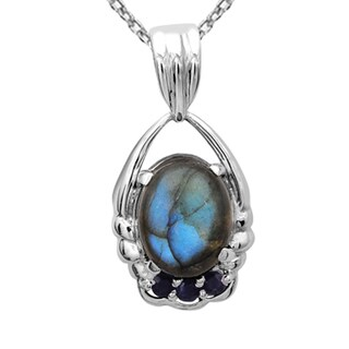 Orchid Jewelry 925 Sterling Silver 5 4/9 Carat Labradorite and Sapphire Necklace