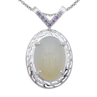 Orchid Jewelry 925 Sterling Silver 25 1/7 Carat White Moonstone and Amethyst Necklace