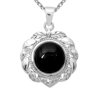 Orchid Jewelry 925 Sterling Silver 10 Carat Black Onyx Necklace