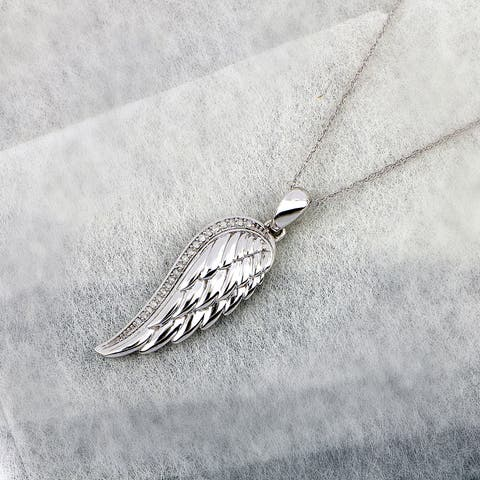 Sterling Silver IGI Certified 1/20ct TDW Angel Wing Necklace