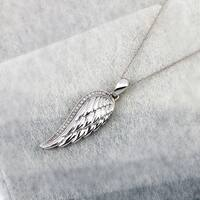 Sterling Silver 1/20ct TDW Angel Wing Necklace