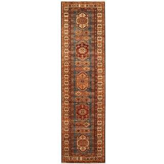 Herat Oriental Afghan Hand-knotted Tribal Super Kazak Wool Runner (2'9 x 10'4)
