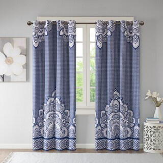 Intelligent Design Simone Printed Lined Blackout Window Curtain Panel