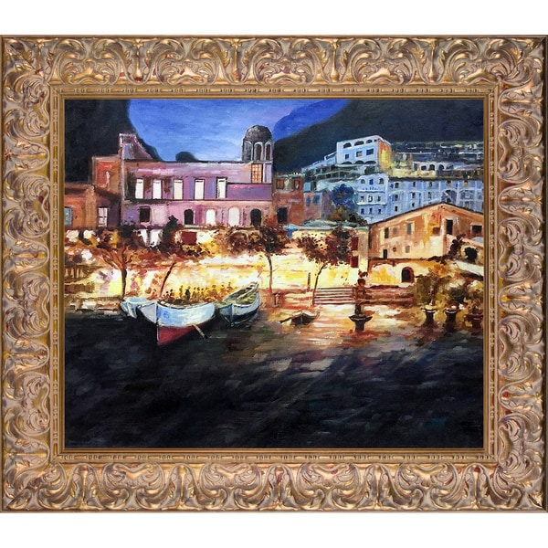 Rolando Lambiase 'Positano by Night' Hand Painted Framed Oil Reproduction on Canvas