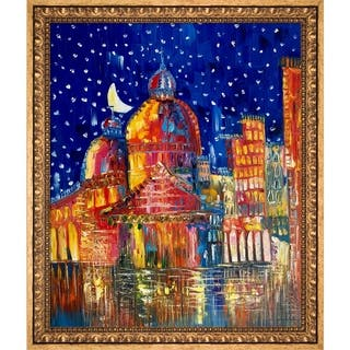 Justyna Kopania 'Moon (Venice) II' Hand Painted Framed Oil Reproduction on Canvas