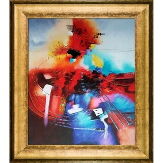Celito Medeiros 'Abstract II' Hand Painted Framed Oil Reproduction on Canvas