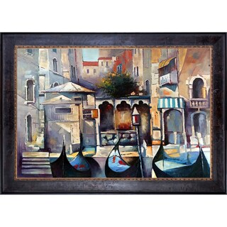Alex Bertaina 'La Maison des Gondoliers' Hand Painted Framed Oil Reproduction on Canvas
