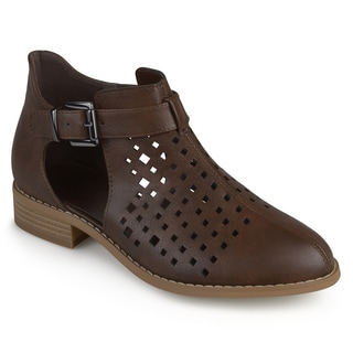 Journee Collection Women's 'Neela' Faux Leather Laser Cut Booties