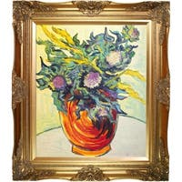 Vincent Van Gogh 'Still Life with Thistles, 1890' Hand Painted Framed Oil Reproduction on Canvas