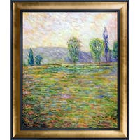 Claude Monet 'Meadows in Giverny, 1888' Hand Painted Framed Oil Reproduction on Canvas