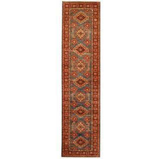 Herat Oriental Afghan Hand-knotted Tribal Super Kazak Wool Runner (2'7 x 10'8)