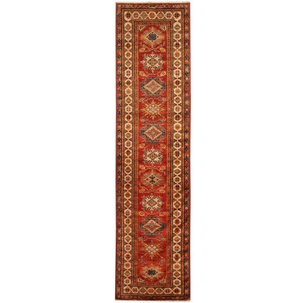Herat Oriental Afghan Hand-knotted Tribal Super Kazak Wool Runner - 2'8 x 10'7