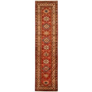 Herat Oriental Afghan Hand-knotted Tribal Super Kazak Wool Runner (2'8 x 10'7)