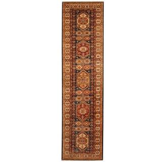 Herat Oriental Afghan Hand-knotted Tribal Super Kazak Wool Runner (2'7 x 10'3)