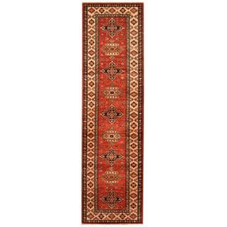 Herat Oriental Afghan Hand-knotted Tribal Super Kazak Wool Runner (2'9 x 9'10)