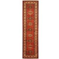 Herat Oriental Afghan Hand-knotted Tribal Super Kazak Wool Runner (2'8 x 9'11)