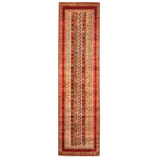 Herat Oriental Afghan Hand-knotted Tribal Super Kazak Wool Runner (2'11 x 9'10)