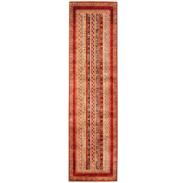 Herat Oriental Afghan Hand-knotted Tribal Super Kazak Wool Runner (2'8 x 9'10)