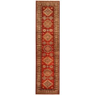 Herat Oriental Afghan Hand-knotted Tribal Super Kazak Wool Runner (2'7 x 9'11)