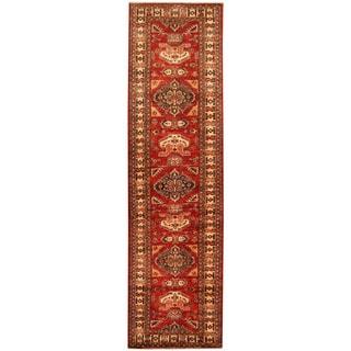 Herat Oriental Afghan Hand-knotted Tribal Super Kazak Wool Runner (2'7 x 9'7)