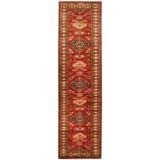 Handmade Herat Oriental Afghan Tribal Super Kazak Wool Runner (Afghanistan) - 2'7 x 9'7