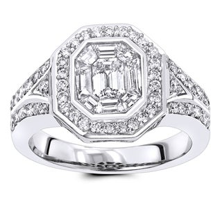 Luxurman 1 1 2 Ct TDW Halo Emerald Cut Diamond Engagement Ring In 14k Gold