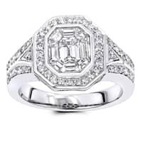 Luxurman 1 1/2 ct. TDW Halo Emerald-Cut Diamond Engagement Ring in 14k Gold