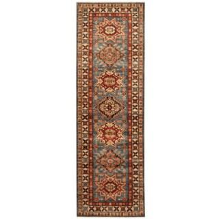 Herat Oriental Afghan Hand-knotted Tribal Super Kazak Wool Runner (2'6 x 7'11)