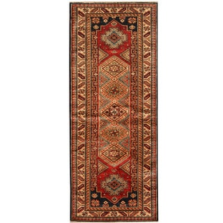Herat Oriental Afghan Hand-knotted Tribal Super Kazak Wool Runner (2'6 x 6'3)