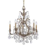 Crystorama Dawson Collection 5-light Antique Brass/Crystal Chandelier